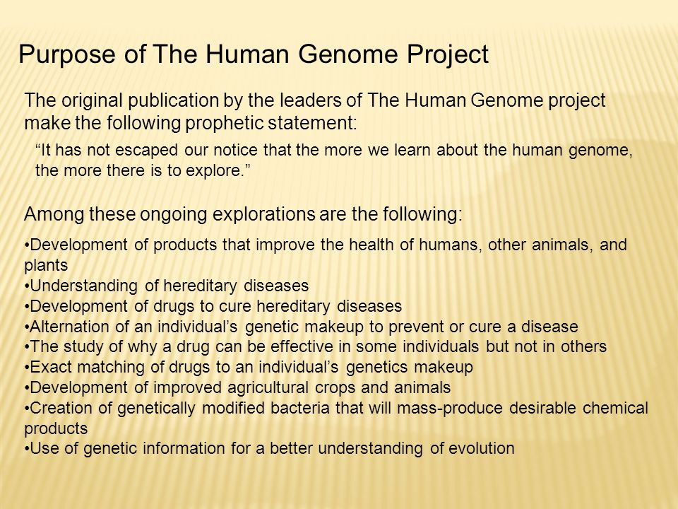The original publication by the leaders of The Human Genome project make the following prophetic statement: Purpose of The Human Genome Project It has not escaped our notice that the more we learn about the human genome, the more there is to explore. Development of products that improve the health of humans, other animals, and plants Understanding of hereditary diseases Development of drugs to cure hereditary diseases Alternation of an individual's genetic makeup to prevent or cure a disease The study of why a drug can be effective in some individuals but not in others Exact matching of drugs to an individual's genetics makeup Development of improved agricultural crops and animals Creation of genetically modified bacteria that will mass-produce desirable chemical products Use of genetic information for a better understanding of evolution Among these ongoing explorations are the following: