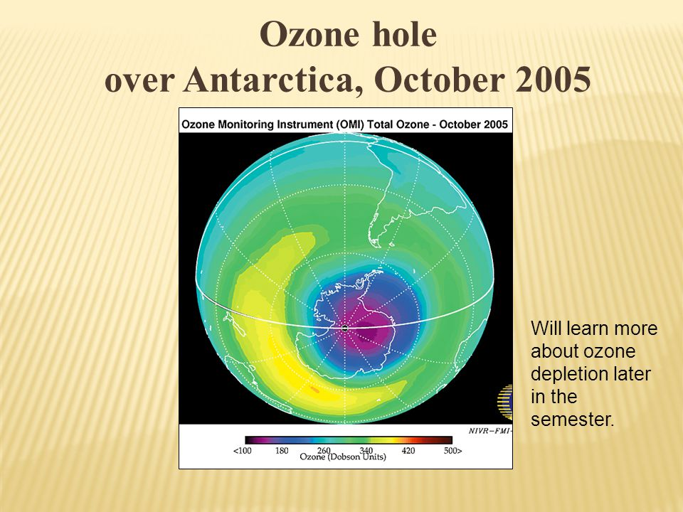 Ozone hole over Antarctica, October 2005 Will learn more about ozone depletion later in the semester.