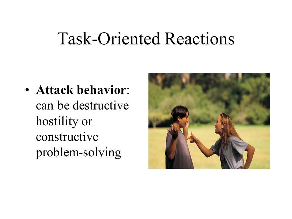 Task-Oriented Reactions Attack behavior: can be destructive hostility or constructive problem-solving