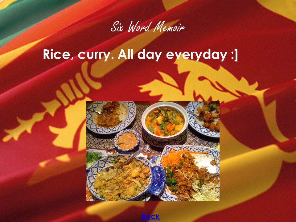 Six Word Memoir Rice, curry. All day everyday :] Back