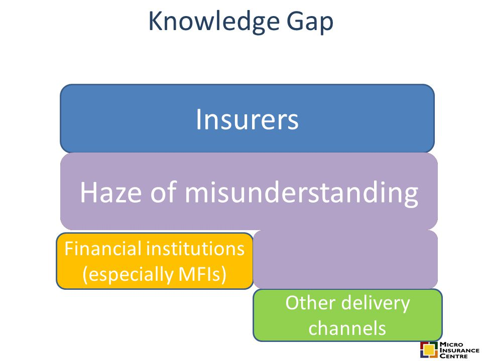 Knowledge Gap Insurers Financial institutions (especially MFIs) Other delivery channels BrokersHaze of misunderstanding