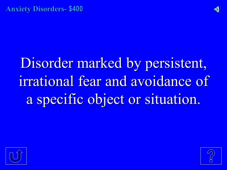 Anxiety Disorders- - $300 Disorder marked by a minute long episode of intense dread, and terror, usually accompanied by chest pains, choking, or other frightening sensations.