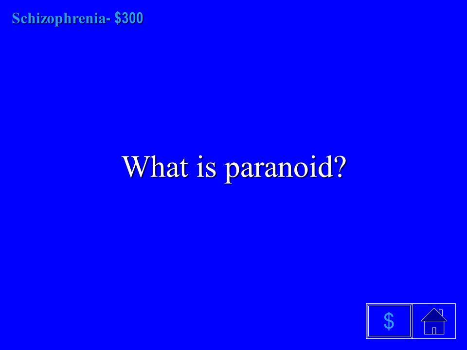 Schizophrenia $200 What are hallucinations $