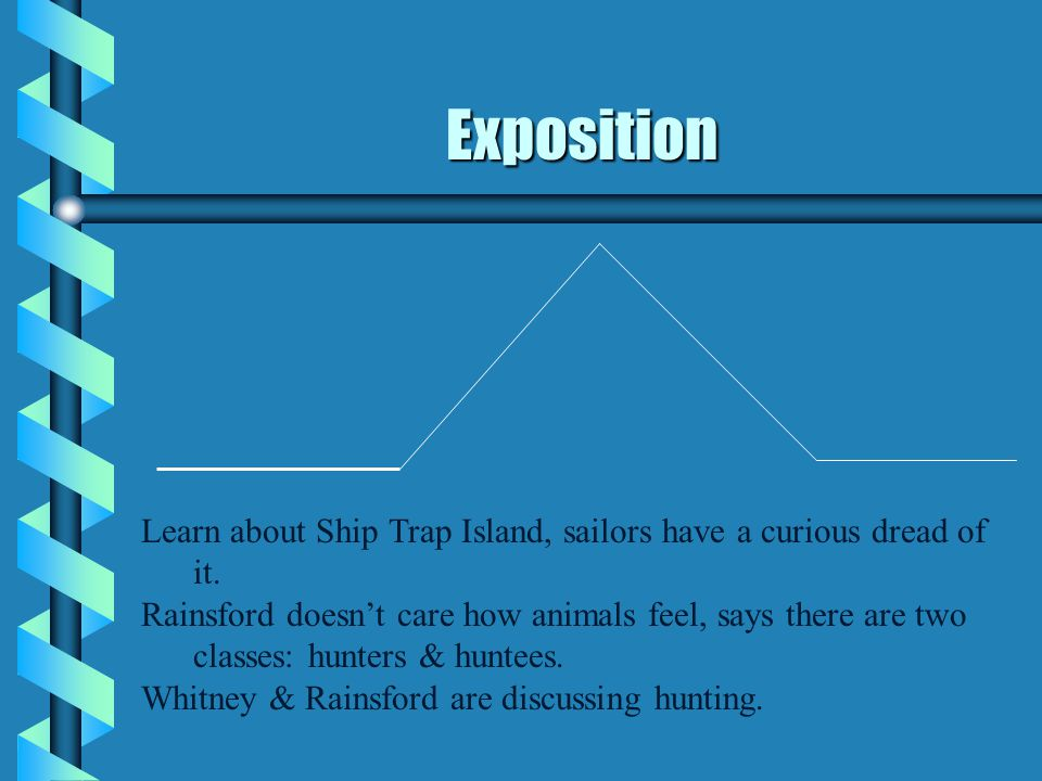 Exposition Learn about Ship Trap Island, sailors have a curious dread of it. Rainsford doesn't care how animals feel, says there are two classes: hunt
