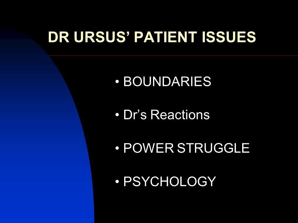 DR URSUS' PATIENT ISSUES BOUNDARIES Dr's Reactions POWER STRUGGLE PSYCHOLOGY