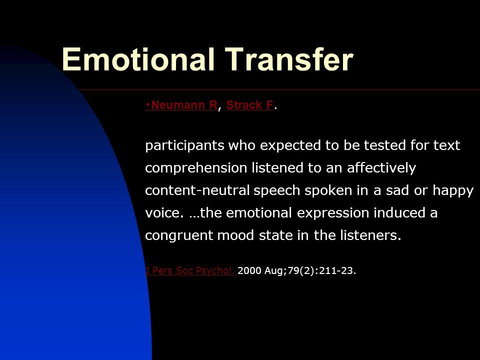 Emotional Transfer ・ Neumann R ・ Neumann R, Strack F.