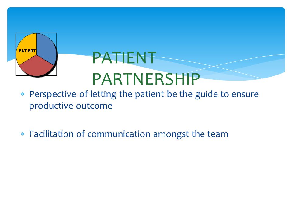  Perspective of letting the patient be the guide to ensure productive outcome  Facilitation of communication amongst the team PATIENT PARTNERSHIP