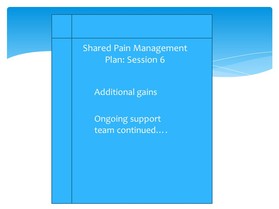 1.Additional gains 2.Ongoing support team continued…. Shared Pain Management Plan: Session 6
