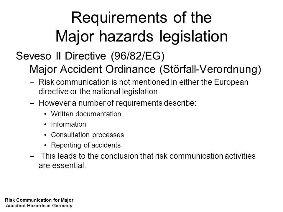 Requirements of the Major hazards legislation Seveso II Directive (96/82/EG) Major Accident Ordinance (Störfall-Verordnung) –Risk communication is not