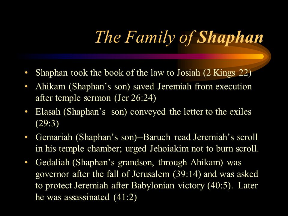 Jeremiah 30-33 Book of Consolation 31:2-6 Israel will plant vineyards in Samaria; 31:9 Yahweh a father to Israel.