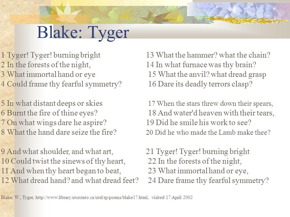 Blake: Tyger 1 Tyger. Tyger. burning bright13 What the hammer.