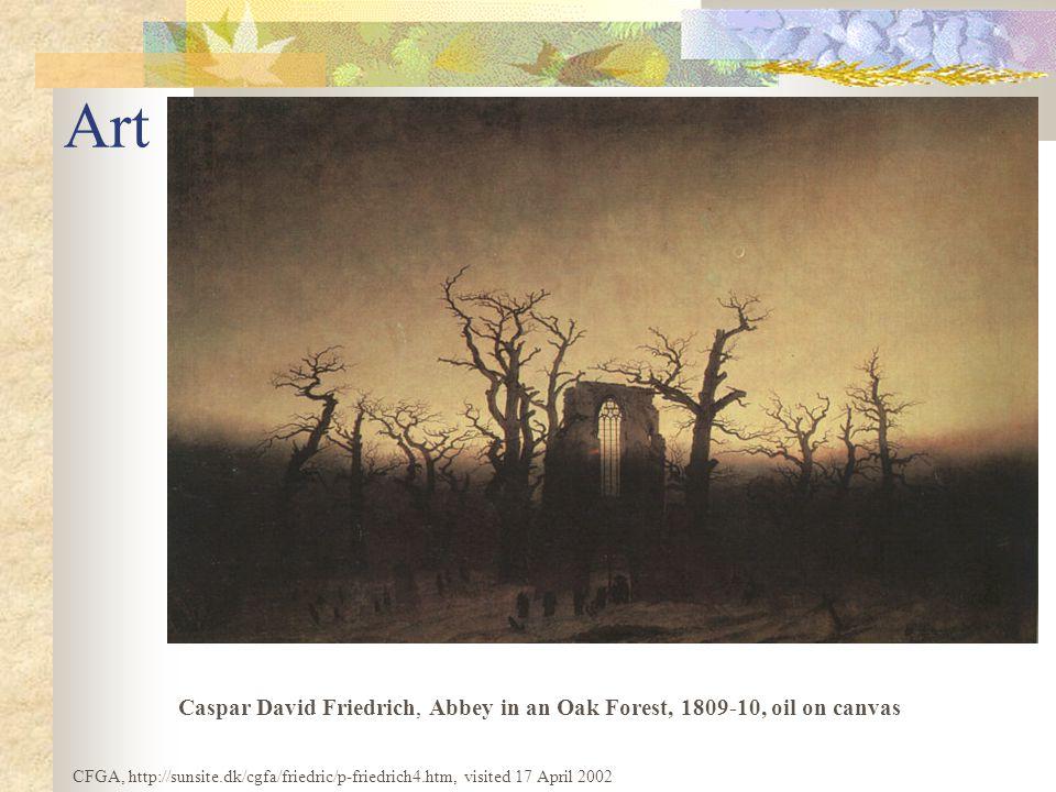 Art Caspar David Friedrich, Abbey in an Oak Forest, 1809-10, oil on canvas CFGA, http://sunsite.dk/cgfa/friedric/p-friedrich4.htm, visited 17 April 2002