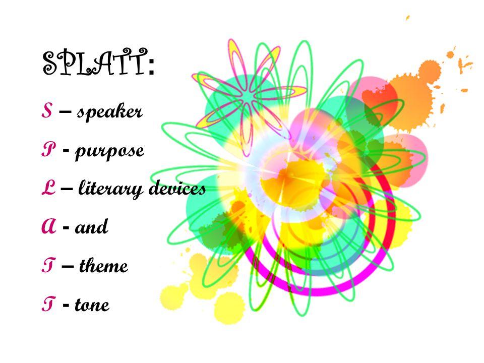 SPLATT A strategy for poetry analysis