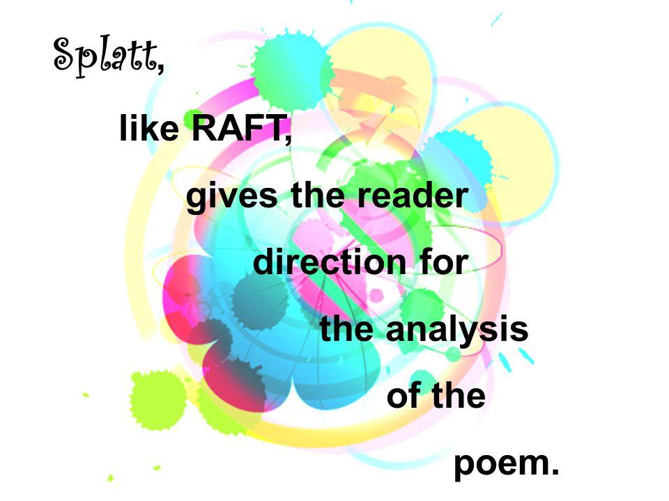 SPLATT : S – speaker P - purpose L – literary devices A - and T – theme T - tone