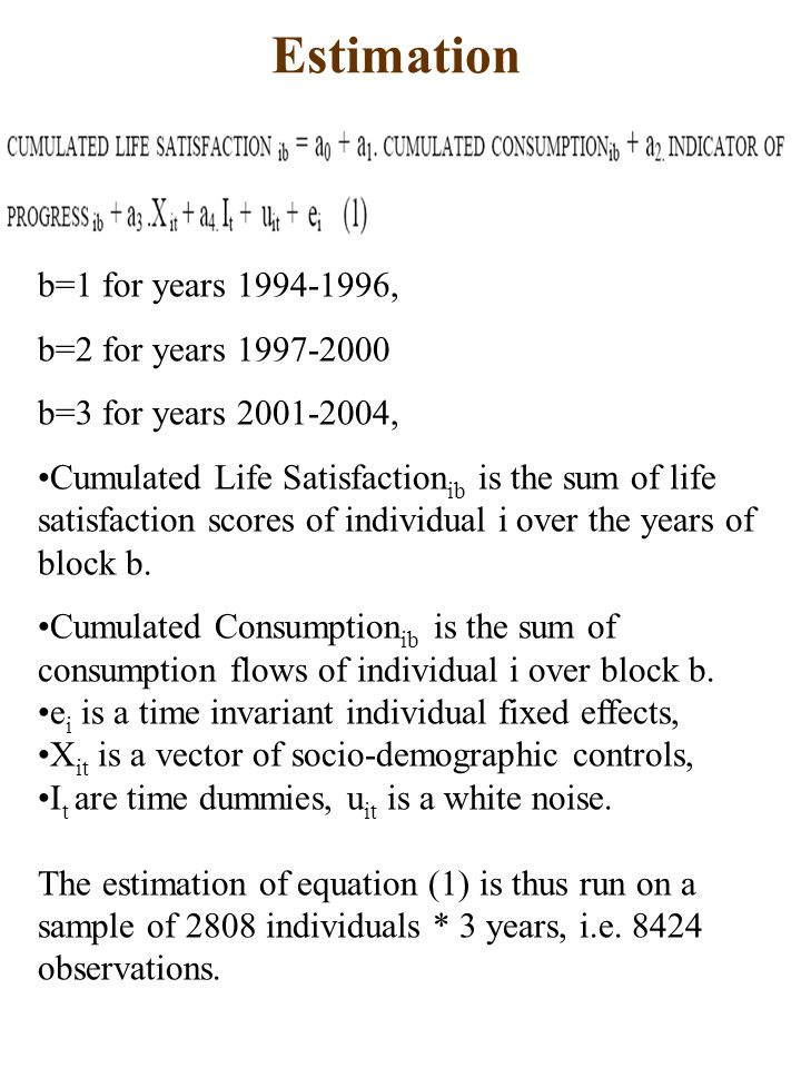 Estimation b=1 for years 1994-1996, b=2 for years 1997-2000 b=3 for years 2001-2004, Cumulated Life Satisfaction ib is the sum of life satisfaction scores of individual i over the years of block b.