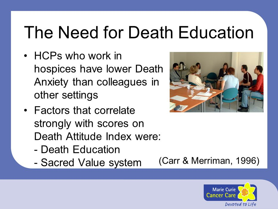 The Need for Death Education HCPs who work in hospices have lower Death Anxiety than colleagues in other settings Factors that correlate strongly with