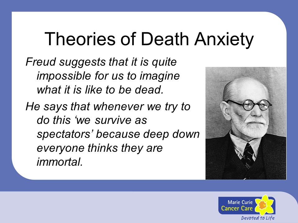 Theories of Death Anxiety Freud suggests that it is quite impossible for us to imagine what it is like to be dead. He says that whenever we try to do