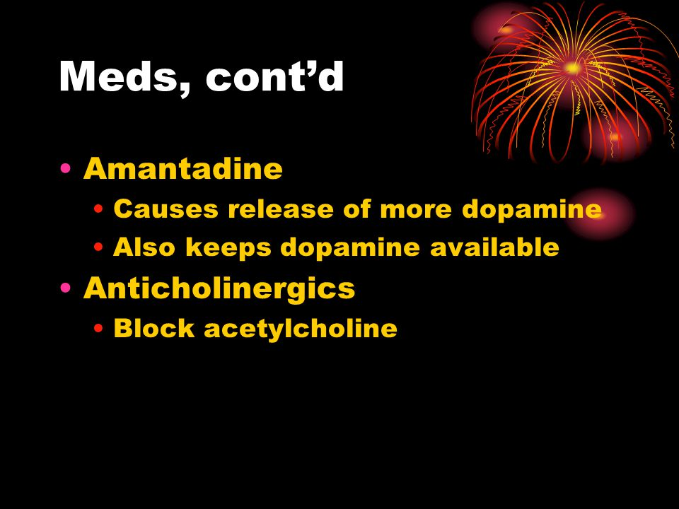 Antipsychotics, cont'd Phenothiazines Largest group of antipsychotics Chlorpromazine (Thorazine) was the 1 st discovered Similar to antihistamines Block reception of Dopamine Do not cure, only control symptoms