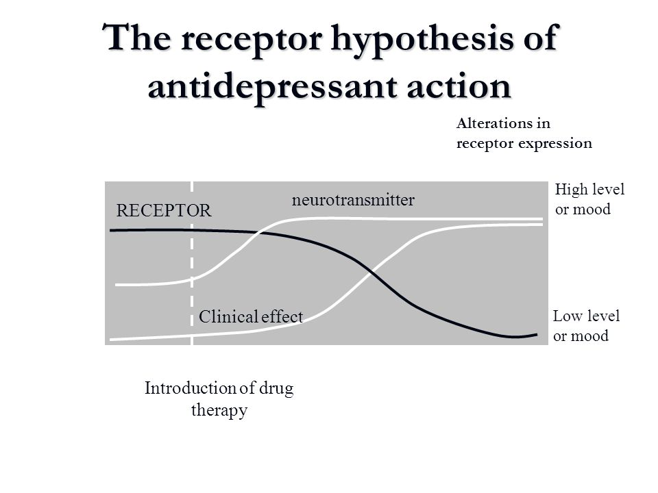 The receptor hypothesis of antidepressant action Introduction of drug therapy RECEPTOR Clinical effect neurotransmitter High level or mood Low level o