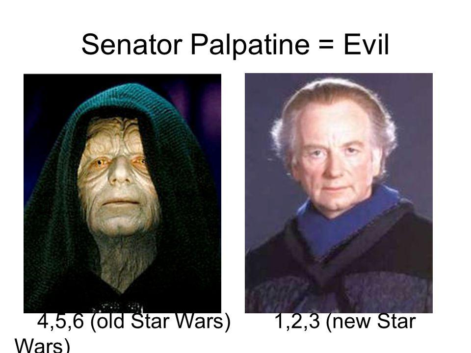Senator Palpatine = Evil 4,5,6 (old Star Wars)1,2,3 (new Star Wars)