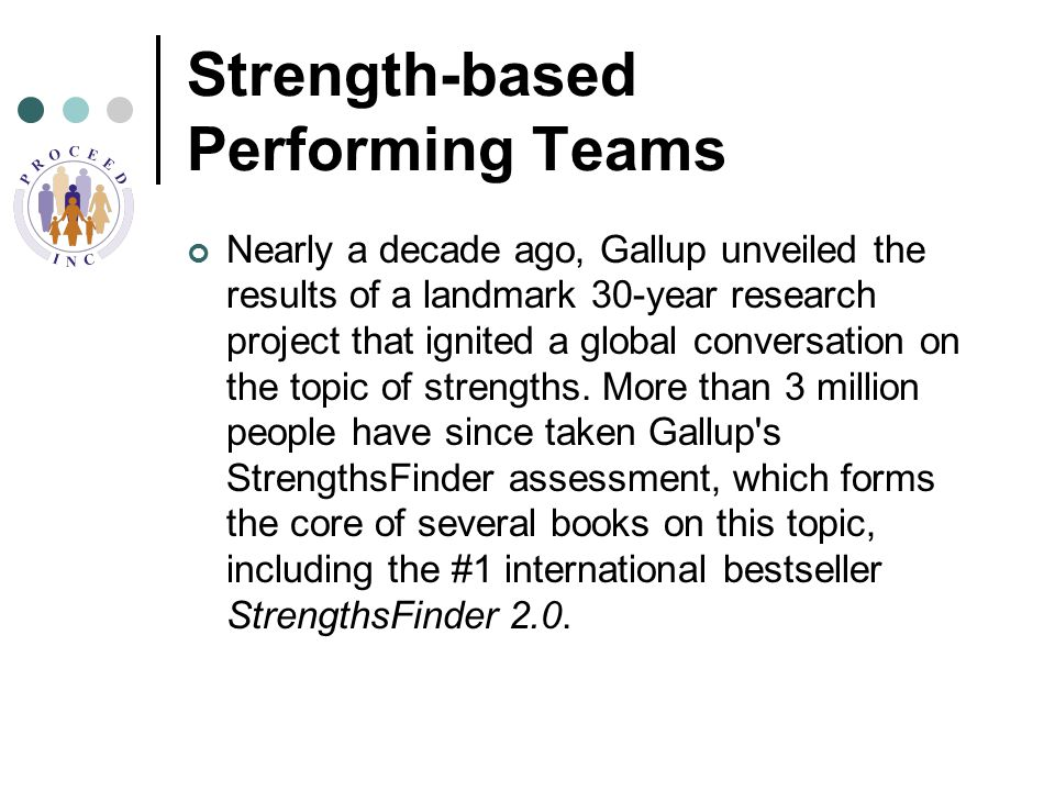 Strength-based Performing Teams Nearly a decade ago, Gallup unveiled the results of a landmark 30-year research project that ignited a global conversation on the topic of strengths.