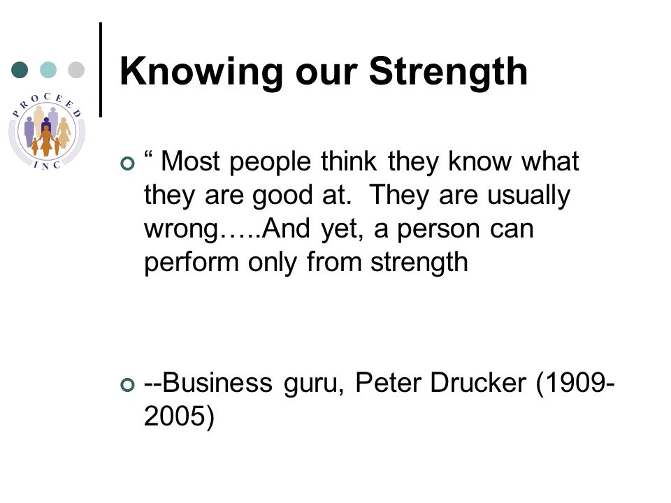 Knowing our Strength Most people think they know what they are good at.