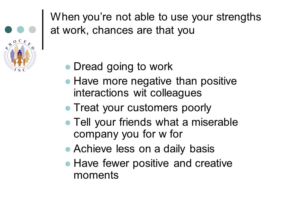 When you're not able to use your strengths at work, chances are that you Dread going to work Have more negative than positive interactions wit colleagues Treat your customers poorly Tell your friends what a miserable company you for w for Achieve less on a daily basis Have fewer positive and creative moments