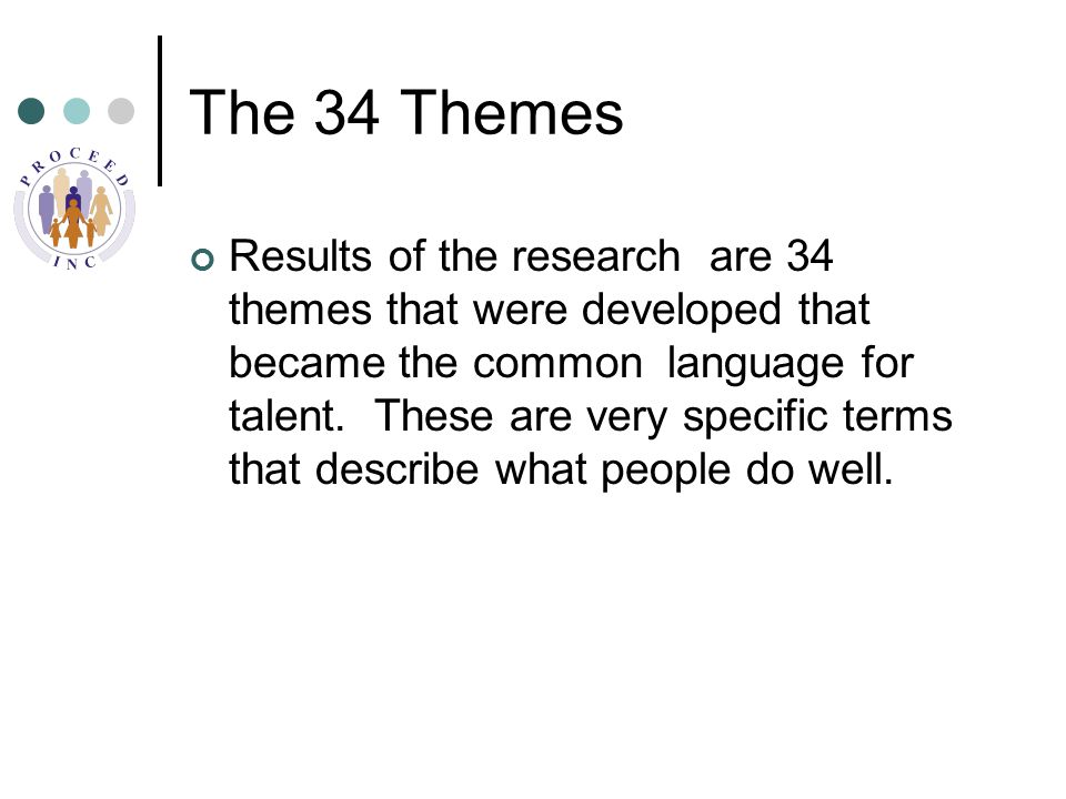 The 34 Themes Results of the research are 34 themes that were developed that became the common language for talent.