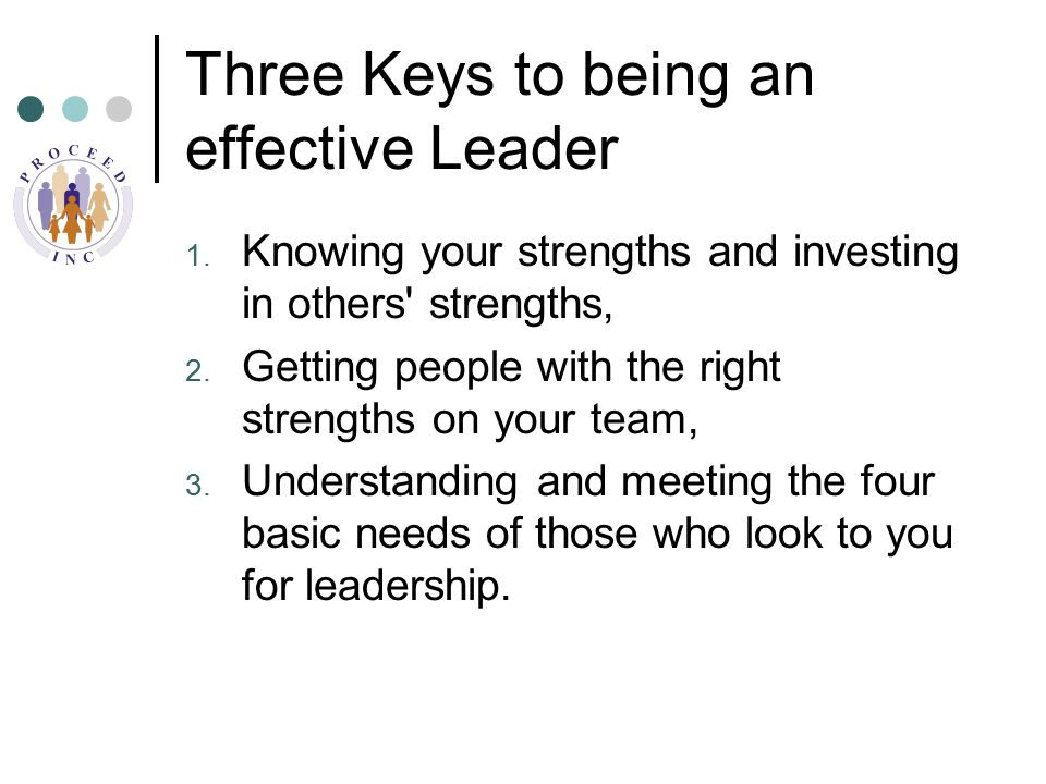 Three Keys to being an effective Leader 1.