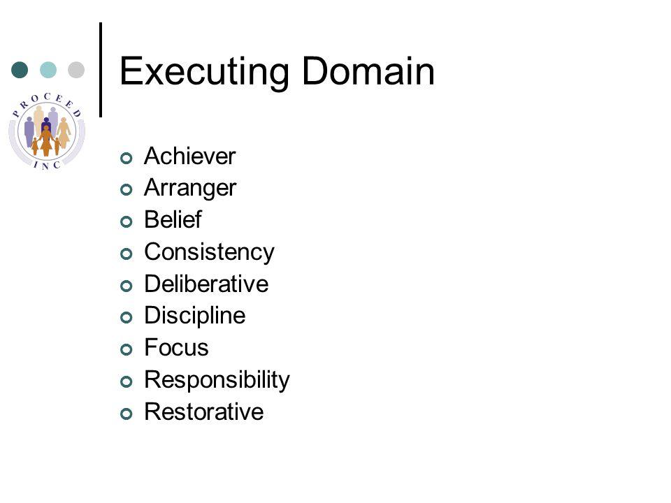 Executing Domain Achiever Arranger Belief Consistency Deliberative Discipline Focus Responsibility Restorative