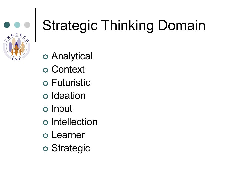 Strategic Thinking Domain Analytical Context Futuristic Ideation Input Intellection Learner Strategic