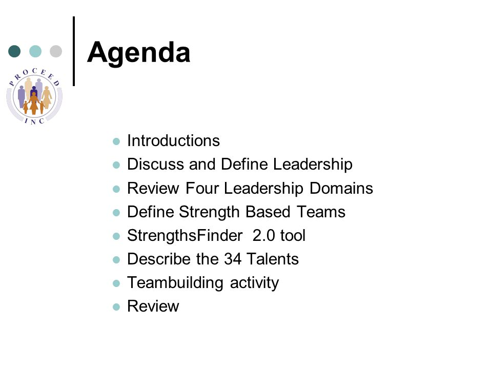 Agenda Introductions Discuss and Define Leadership Review Four Leadership Domains Define Strength Based Teams StrengthsFinder 2.0 tool Describe the 34 Talents Teambuilding activity Review