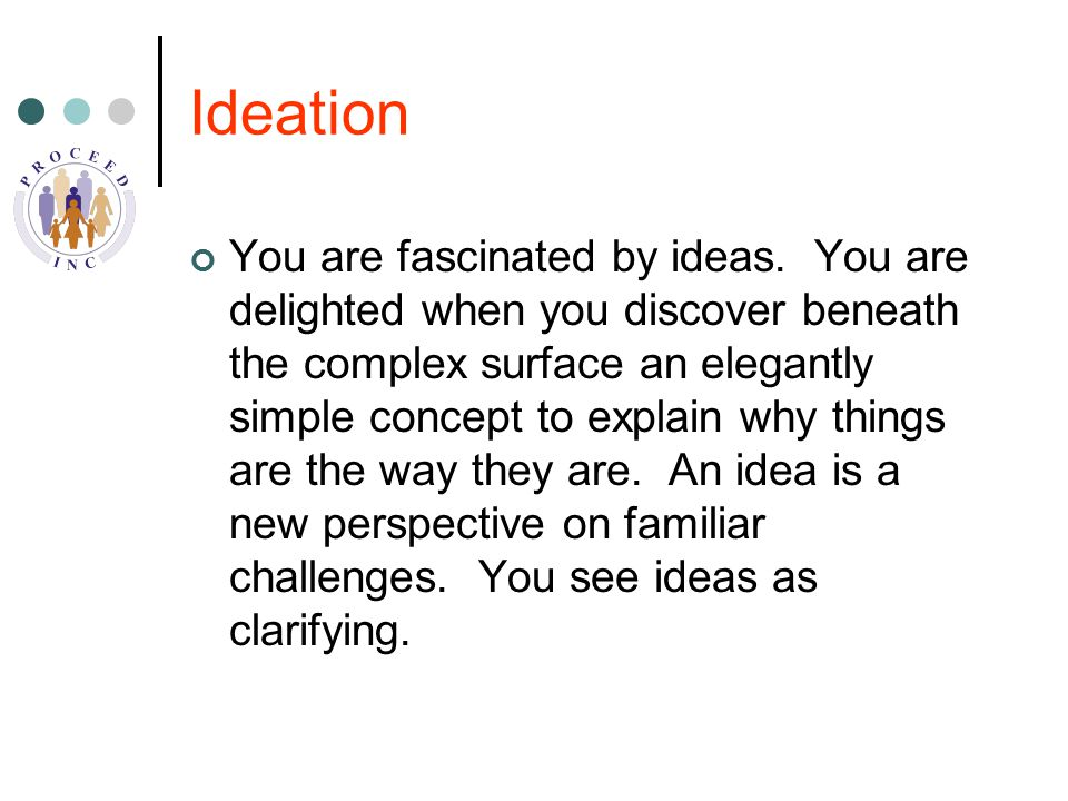 Ideation You are fascinated by ideas.
