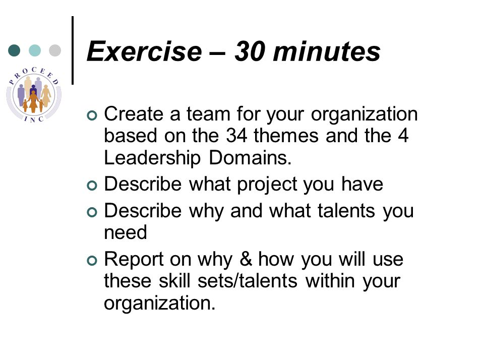 Exercise – 30 minutes Create a team for your organization based on the 34 themes and the 4 Leadership Domains.