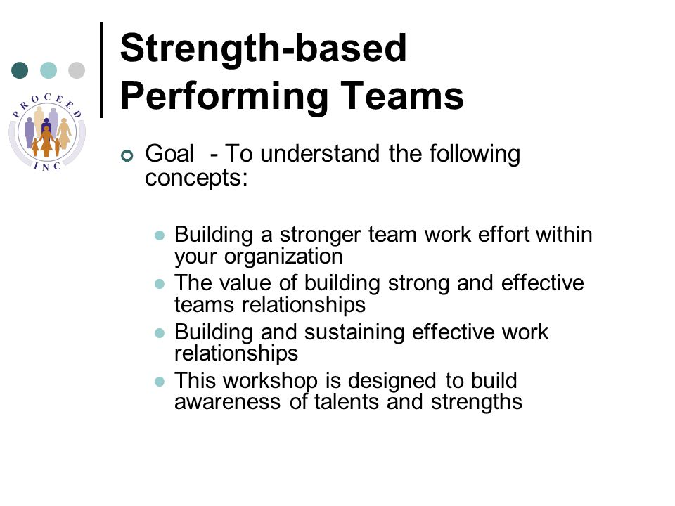 Strength-based Performing Teams Goal - To understand the following concepts: Building a stronger team work effort within your organization The value of building strong and effective teams relationships Building and sustaining effective work relationships This workshop is designed to build awareness of talents and strengths