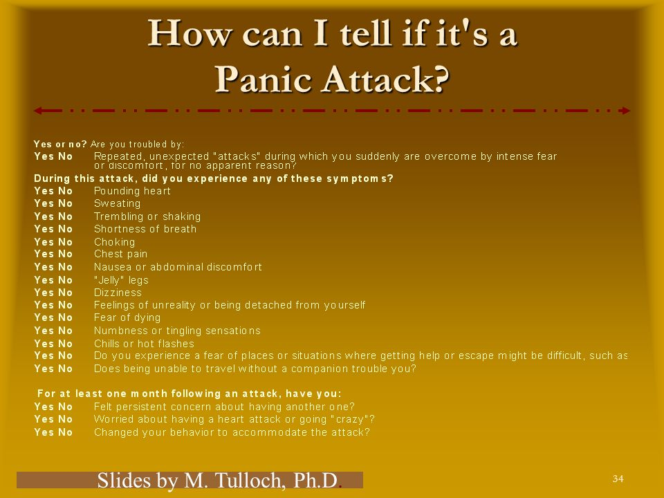34 Comer, Fundamentals of Abnormal Psychology, 5e – Chapter 4 How can I tell if it s a Panic Attack.