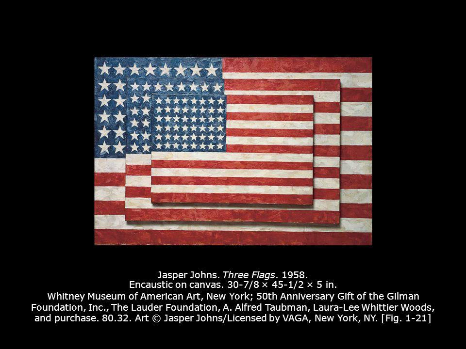 Jasper Johns.Three Flags. 1958. Encaustic on canvas.