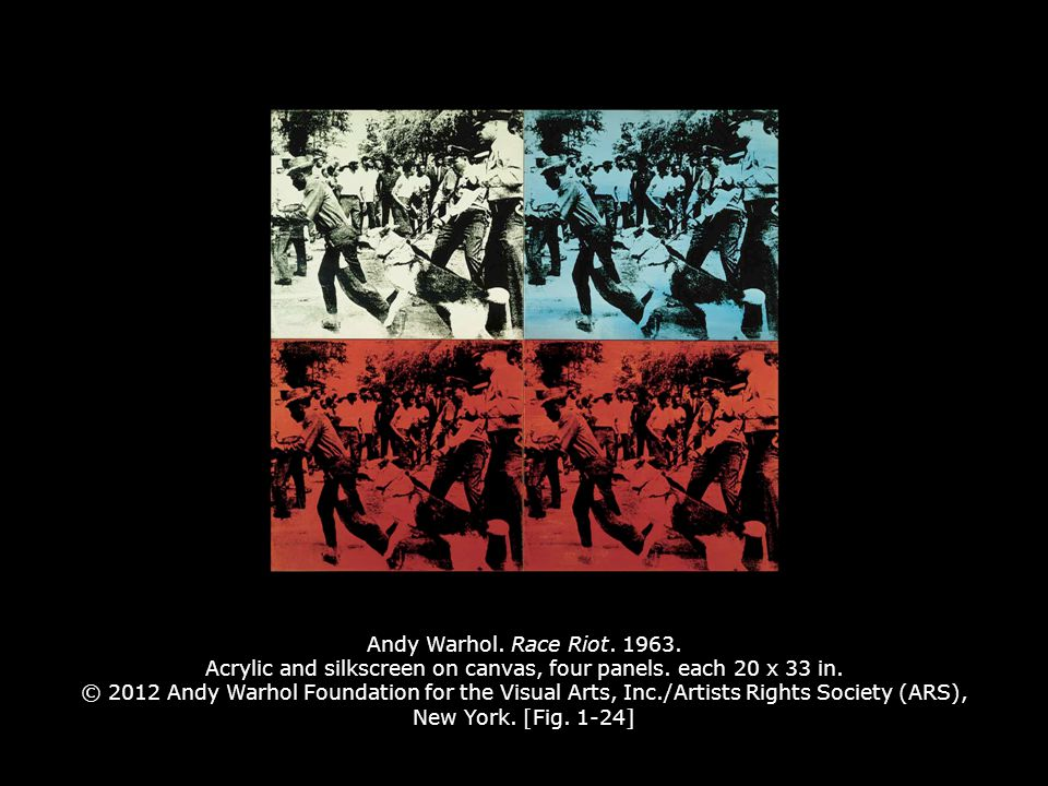Andy Warhol.Race Riot. 1963. Acrylic and silkscreen on canvas, four panels.