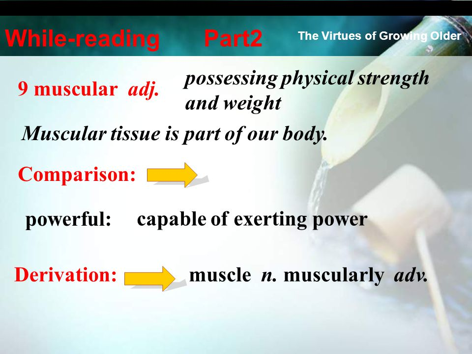 9 muscular adj. Muscular tissue is part of our body. Comparison: powerful: muscle n. muscularly adv. Derivation: possessing physical strength and weig