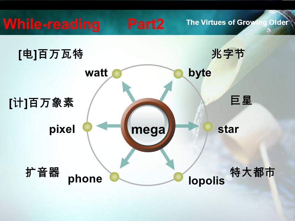 bytewatt star lopolis pixel phone mega [ 电 ] 百万瓦特 [ 计 ] 百万象素 扩音器 兆字节 巨星 特大都市 While-reading Part2 The Virtues of Growing Older