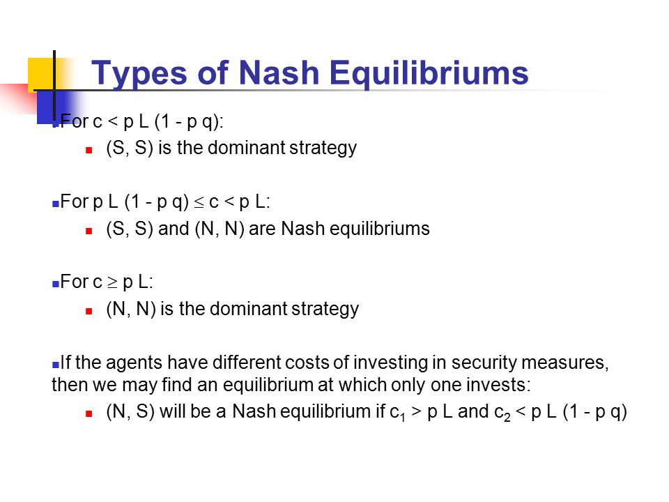 Types of Nash Equilibriums For c < p L (1 - p q): (S, S) is the dominant strategy For p L (1 - p q)  c < p L: (S, S) and (N, N) are Nash equilibriums For c  p L: (N, N) is the dominant strategy If the agents have different costs of investing in security measures, then we may find an equilibrium at which only one invests: (N, S) will be a Nash equilibrium if c 1 > p L and c 2 < p L (1 - p q)