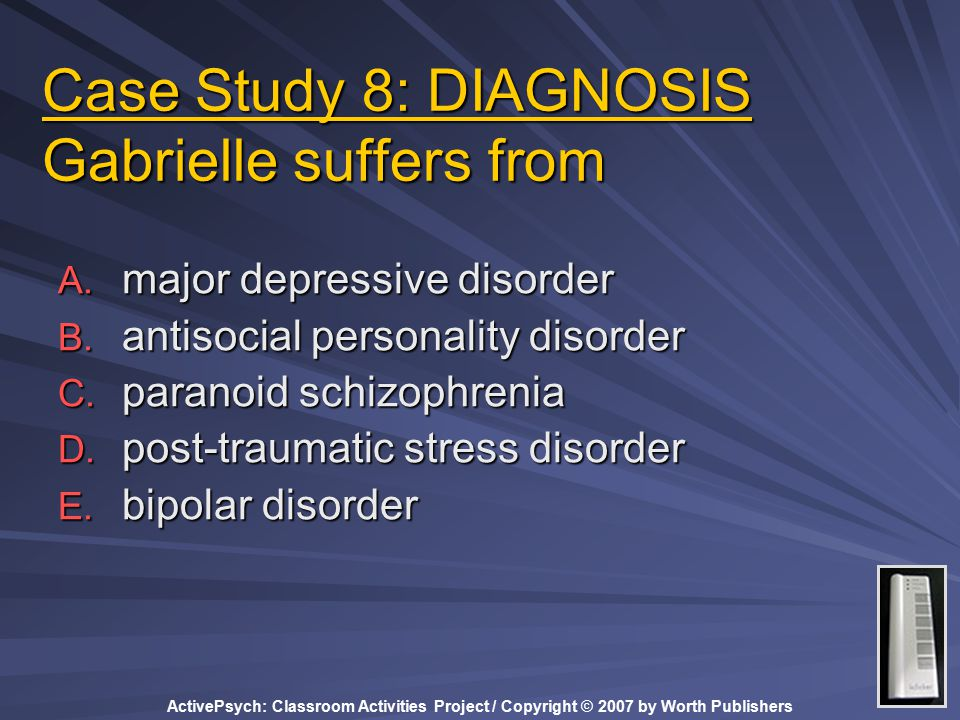 ActivePsych: Classroom Activities Project / Copyright © 2007 by Worth Publishers Case Study 8: DIAGNOSIS Gabrielle suffers from A.