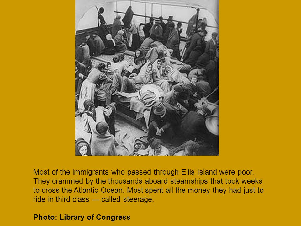 Most of the immigrants who passed through Ellis Island were poor.