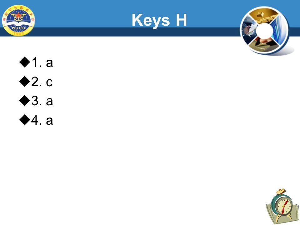 Keys H  1. a  2. c  3. a  4. a
