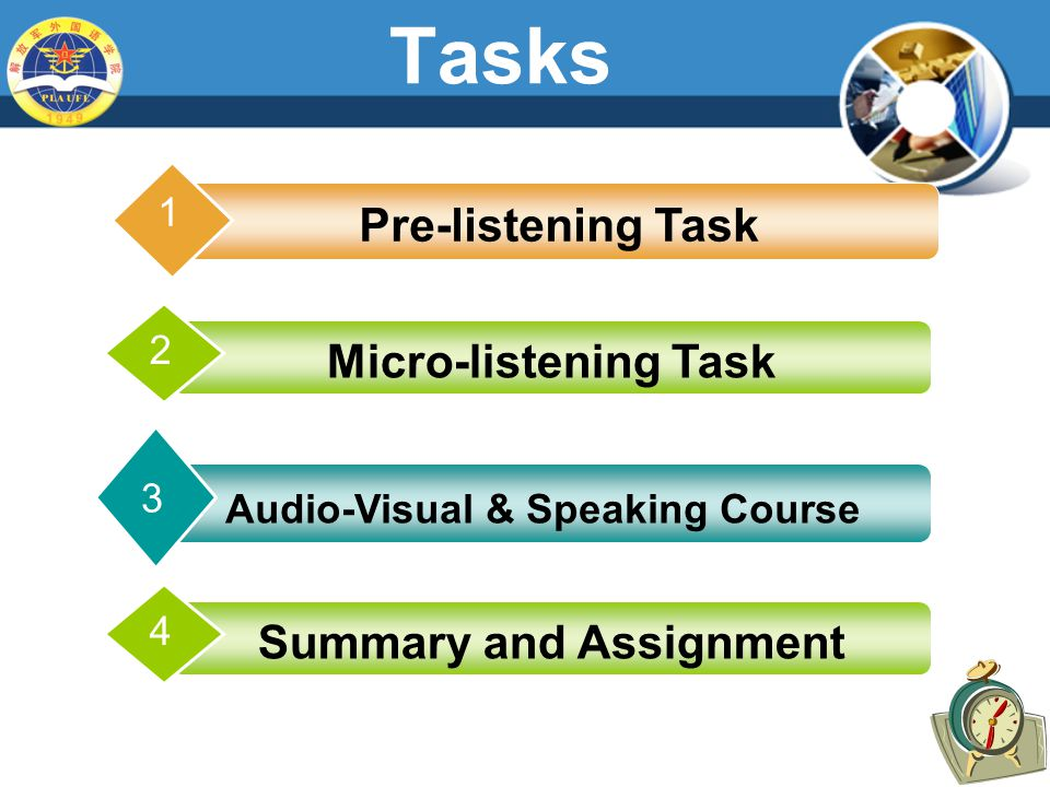 Tasks Pre-listening Task 1 Audio-Visual & Speaking Course 3 2 Micro-listening Task 4 Summary and Assignment