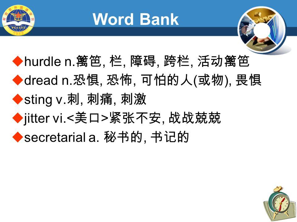 Word Bank  hurdle n. 篱笆, 栏, 障碍, 跨栏, 活动篱笆  dread n.