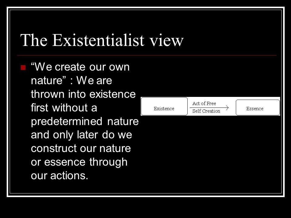 The Existentialist view We create our own nature : We are thrown into existence first without a predetermined nature and only later do we construct our nature or essence through our actions.