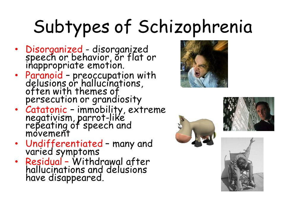 Subtypes of Schizophrenia Disorganized - disorganized speech or behavior, or flat or inappropriate emotion.