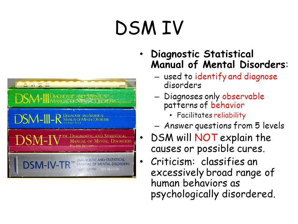 DSM IV Diagnostic Statistical Manual of Mental Disorders: – used to identify and diagnose disorders – Diagnoses only observable patterns of behavior Facilitates reliability – Answer questions from 5 levels DSM will NOT explain the causes or possible cures.