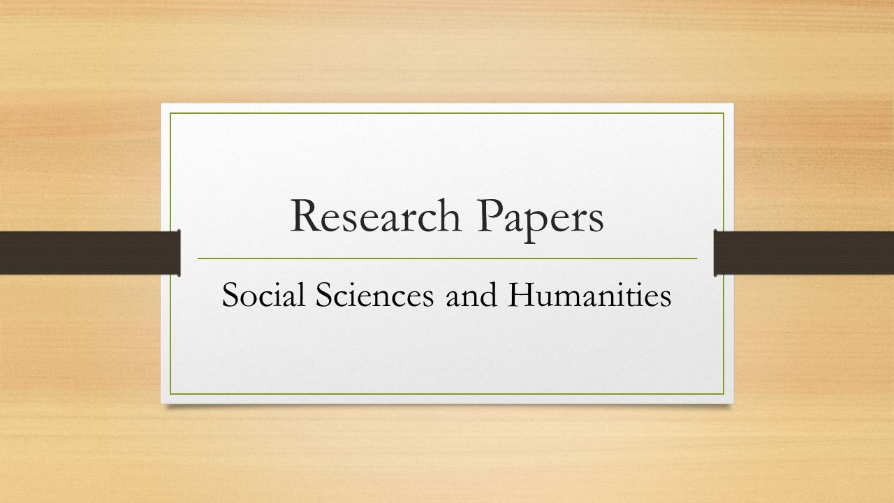 do research paper social sciences